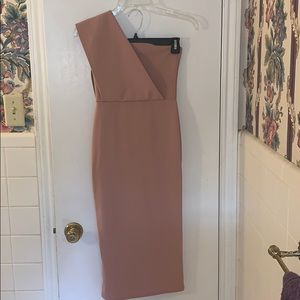 Dusty Pink One shoulder draped midi dress